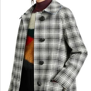 Burberry Black and White Check Tailored Coat